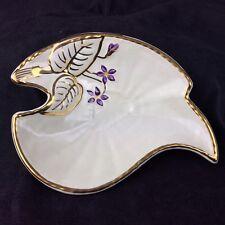 Vintage Crown Devon Pin Dish Tray Leaf Shape Kitsch Gilt Purple Flowers 1950's