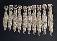 "9 RARE Victorian 3-3/4"" Bohemian CUT CRYSTAL GLASS SPEAR PRISMS LUSTERS PARTS"