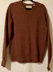 Penguin Munsingwear V Neck Sweater Warm Brown Orange Pullover Lambswool Sz M/L