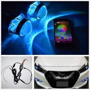 1x Bluetooth Remote Control RGB LED Demon Eye Halo Ring Headlight Projector Lens