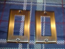 2 BALDWIN BRASS LIGHT SWITCH COVERS WITH NO SCREWS