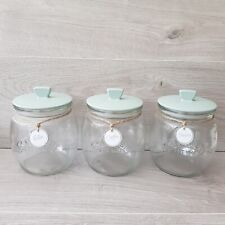 Set of 4 Kilner Jars - Tea Coffee Sugar & Hot Chocolate - Sage Green Lids (930n)