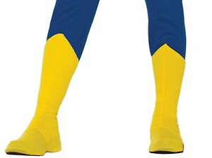 """Superhero Yellow Adult Boot Top Shoe Cover MED 14""""-15"""" Calf Size Costume Access."""