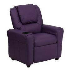 Flash Contemporary Purple Vinyl Kids Recliner With Cup Holder and Headrest