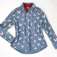 Disney Parks Womens Minnie Mouse Button Up Shirt Size M Long Sleeve Blue Roses