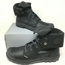 Palladium Men's Pallabrouse Leather Lace-up Closed Toe Black Booties Size 14