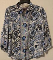 Robert Graham Top Shirt Blouse 3/4 Sleeves Blue White Floral Paisley Print SZ S