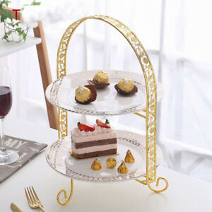 Metal Cake Stand Double-Layer Arch-Shaped Golden Fruit Dessert Rack Party DSEAU