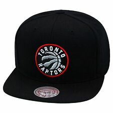 Mitchell & Ness Toronto Raptors Snapback Hat All Black/Circled Logo