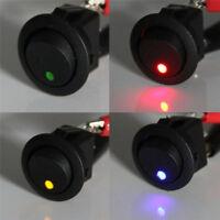 4STK Wippschalter rund EIN/AUS 12V LED beleuchtet / 12 Volt mini Schalter KFZ