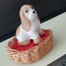 Vintage Szeiler Ceramic Puppy Dog in Original Basket Made in England Free Post