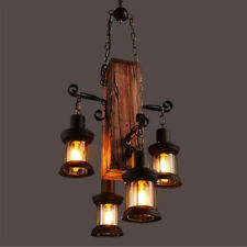 4 Heads Wood Chandelier Iron Ceiling Lamp Industrial Rustic Pendant Retro Light