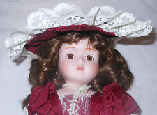 Italian Victorian Porcelain Doll 16 in. Red Parasol Pearls Lace Italy Bloomers