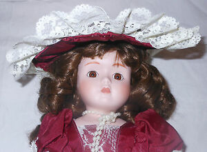 Italian Victorian Porcelain Doll 16 inch Red Parasol Pearls Lace Italy Bloomers
