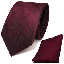 Designer TigerTie Krawatte + Einstecktuch rot weinrot schwarz paisley Muster