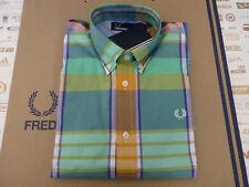 FRED PERRY Cotton Shirt Mens Madras Tartan Short Sleeve Size S Shirts BNWT R£65