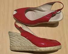 Russell and Bromley Red Patent Peep Toe Espadrille Wedges - Size 6