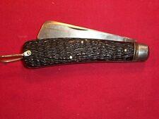 Vintage Schrade Cut. Co. Black Sailor Rope 4-3/8 in Pocket Knife