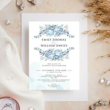 10 Wedding Invitations Day/Evening Watercolour Floral Blue Flowers