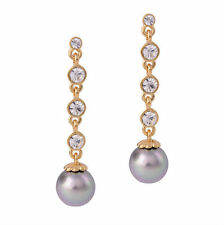 Stunning Cocktail Long Drop Grey Pearl and Rhinestone Crystal Zircon Earrings