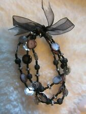 Ladies Black Mother Of Pearl & Wooden Beaded Stretch Bracelet With Black Bow