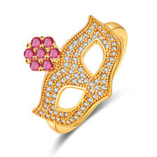 Mask Elegant Pink & White Topaz & Garnet Gemstone 18K Yellow gold plated Ring