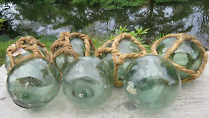 """Japanese Glass Floats Lot-7 Some Nets 3.5"""" Marine Matter: Fish Scales Antiques!"""