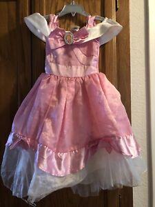 Used Girls Disney Store Cinderella Birds Pink Dress Halloween Costume Sz 2-3