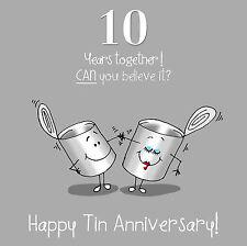 10th Anniversary Greetings Card - Happy Tin Anniversary