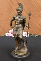 Art Deco Roman/Greek Warrior Hot Bronze Sculpture Marble Base Figurine Figure