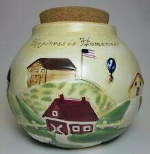 Happiness is Homemade Ceramic Spare Change Coin Money Jar Countryside Patriotic