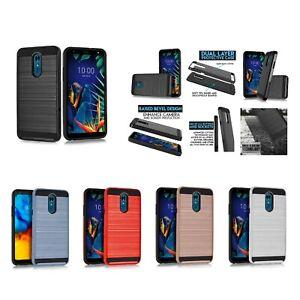 "for 5.7"" LG K40, K12+, X4 2019 Brushed Metal Slip Hybrid Slim Bumper Phone Case"