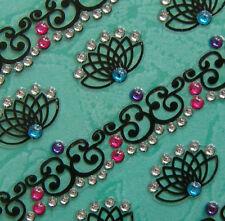 Nail Art 3D Sticker Color Crystal Decal Black Lily Flower Patteren Strips 17pcs