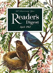 READER'S DIGEST 1962 APRIL FOSDICK;EYE CARE;CUBA;KINGKONG;MINK;VIETNAM !