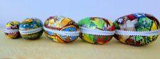 5 assorted vintage paper mache eggs from German Democratic Republic