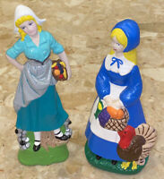 "Vintage THANKSGIVING Pilgrim Women Figurines 8.5"" & 9"" Hand-painted Signed 1978"