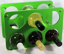 Wine Bottle Rack- 6 Bottle Holder storage Beautiful Gift  Free Standing Green