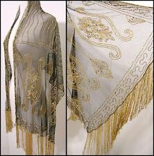 Vintage GLASS BEAD 100% Rayon Fringe Wrap Shawl Western Fashion GOLD NWOT