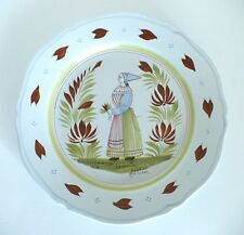 Henriot Quimper French Porcelain Scalloped Wall Plate. Signed. Approx. 10""