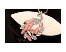 Nataliya Pink Peacock Pendant Long Necklace
