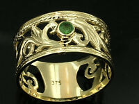 R001- Genuine SOLID 9ct Yellow Gold NATURAL Emerald Wide Filigree Ring size P