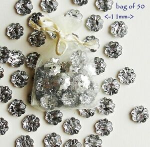 Flower Buttons 50 Vintage Style Sparkly Silver Diamante Effect 12 mm Sparkle Sew