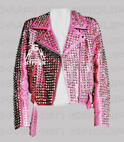 New Woman Baby Pink Full Silver Studded Punk Rock Belted Biker Leather Jacket