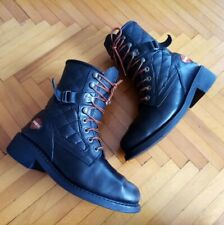 Womens Black Harley Davidson Lace up Boots Size 7