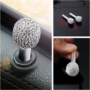 Universal Silver Bling Rhinestone Car Door Lock Knob Locking Cap Pins Pair/Set