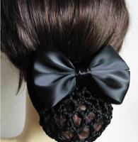 Stylish Solid Satin Bow Hair Clip Cover Bowknot Bun Snood Women Hair Accessories