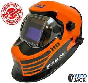 Autojack Orange Welding Helmet Auto Darkening Lens True Colour & Grinding Switch