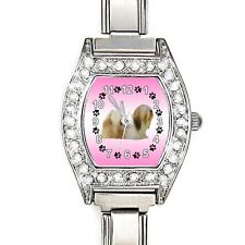 Lhasa Apso CZ Lladies Stainless Steel Italian Charms Bracelet Wrist Watch BJ1088