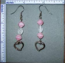 Pink & clear color beads on silver earrings
