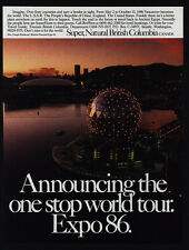 1986 EXPO 86 Vancouver CANADA British Columbia World Tour VINTAGE AD